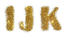 信件我, J,金黄闪烁闪闪发光K在白色背景的 免版税库存图片