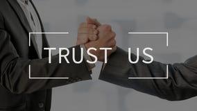 信任我们在概念性企业场面的文本 库存图片