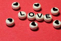 从信件的爱在红色 免版税库存图片