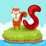 信件的以图例解释者的是为squirrel 免版税库存照片