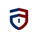 信件盾锁商标 库存照片