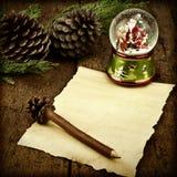 信件空白的羊皮纸圣诞老人圣诞卡 免版税库存照片