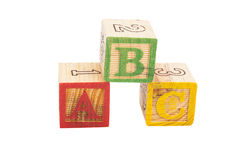 信件被隔绝的块ABC 免版税库存图片