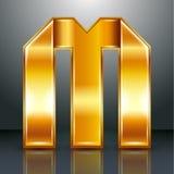 信件金属金丝带- M 免版税库存图片