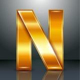 信件金属金丝带- N 库存照片