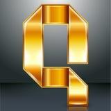 信件金属金丝带- Q 免版税库存图片