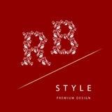 信件B,从玫瑰的R 组合图案设计元素,优美的模板 皇族释放例证
