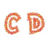 信件C, D由秋叶做成 库存图片