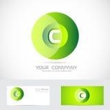 信件C绿色圈子商标 免版税库存图片