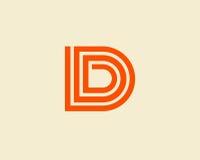 信件D商标线设计 免版税库存照片
