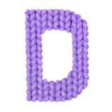 信件D英语字母表,上色紫色 免版税库存照片
