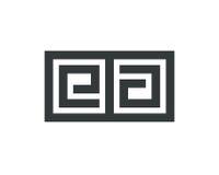信件EA商标线设计摘要 免版税库存图片