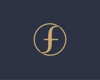 信件F商标象设计模板元素 库存图片