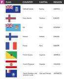 信件F -世界的旗子与名字、资本和区域的 免版税库存照片
