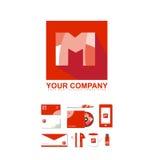 信件M字母表正方形商标象 皇族释放例证
