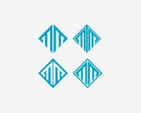 信件M象字母表标志 信件M商标象设计传染媒介标志 免版税库存图片