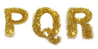 信件P, Q, R在白色背景的金黄闪烁闪闪发光 免版税库存图片