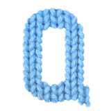 信件Q英语字母表,上色蓝色 免版税库存照片