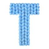 信件T英语字母表,上色蓝色 免版税库存图片