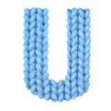 信件U英语字母表,上色蓝色 库存照片