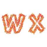 信件W, X由秋叶做成 图库摄影