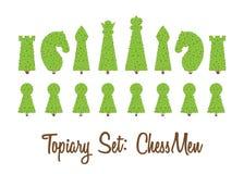 修剪的花园套灌木和树所有西洋棋棋子形状:女王/王后,典当,白嘴鸦,骑士主教,国王, 免版税库存图片