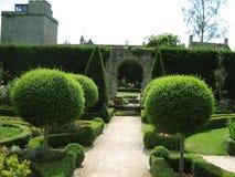 结修剪的花园庭院道路和入口 图库摄影