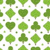 修剪的花园无缝的样式 灌木四衣服形状:心脏,锹,俱乐部,金刚石 图库摄影