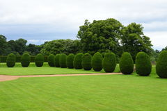 修剪的花园, Montacute议院,萨默塞特,英国 图库摄影