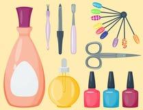 修剪脚和手关心手指仪器传染媒介时尚个人化妆用品设备 库存例证