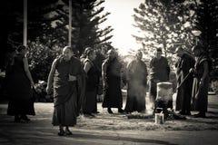 修士和礼仪火, Gyuto修道院, Dharamshala,印度 库存照片