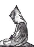 修士长袍的修士有圣经水彩的 图库摄影