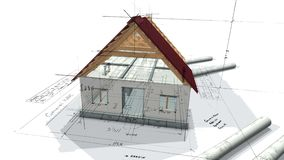 修建一个房子和一个假装房子的体系结构计划有屋顶的 3d使成环的动画 向量例证