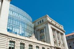 修建城市dc大厅华盛顿威尔逊的艺术花 库存图片