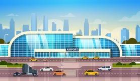 修建现代终端的机场外部与在高方式路的背景的汽车和摩天大楼 向量例证