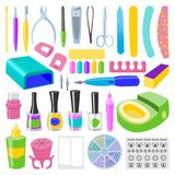 修指甲和修脚脚递健康秀丽时尚关心手指仪器传染媒介个人化妆用品设备 向量例证