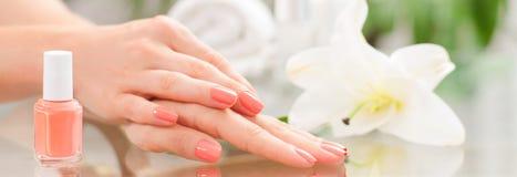 修指甲概念 美好的woman& x27; 有完善的修指甲的s手在美容院 免版税库存图片