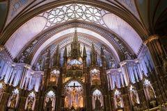 修改Notre Dame,蒙特利尔,魁北克,加拿大里面大教堂  我 免版税库存照片