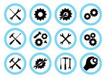 修理公司概念 被设置的简单的象:板钳、螺丝刀、锤子和齿轮 服务象或按钮 向量例证