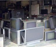 修理和回收老电视 库存图片
