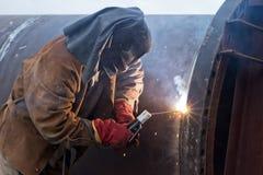修理在被焊接的耳轮缘大化工用具的工作 免版税图库摄影
