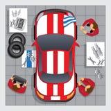 修理在车库的汽车 免版税库存图片