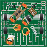 修理电子线路的工作 库存照片