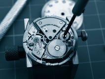 修理老机械手表口径 库存图片
