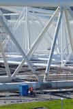 修理运作在Maeslant障碍在荷兰角港 库存图片