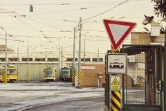 维修站前电车调整视图 免版税库存照片