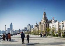 修筑上海瓷欧洲遗产河沿地标区域  库存照片