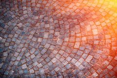 修补石街道背景在日落,意大利 欧洲 免版税图库摄影