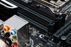 修造一台强有力的计算机的现代主板 免版税库存照片