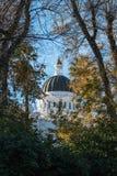 修造圆形建筑的圆顶的加利福尼亚国会大厦构筑由树木天棚 库存照片